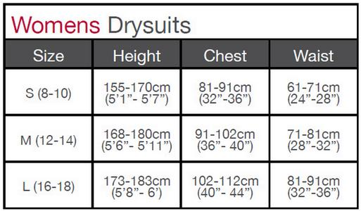 New Gul Womens Drysuit chart