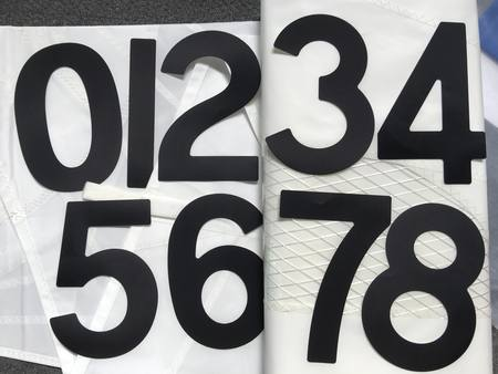 Open Skiff (BIC) Sail Numbers  BLACK 230mm